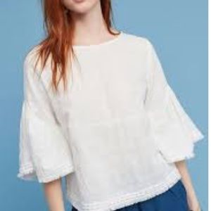 Dolan bell sleeve fringe trim boho peasant top